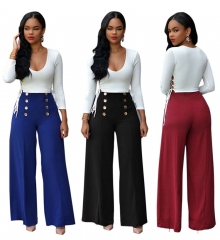 Fashion Women OL Trousers  High Waist Elastic Double-breasted Wide-leg  Slim  Pants Ladies black m