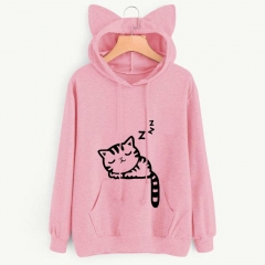 Spring Autumn Women's Long Sleeve Heaps Collar Hooded Hoodies Cat Style Sports Coat Outerdoor Wear pink s