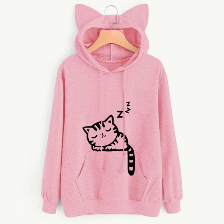 Spring Autumn Women's Long Sleeve Heaps Collar Hooded Hoodies Cat Style Sports Coat Outerdoor Wear pink s
