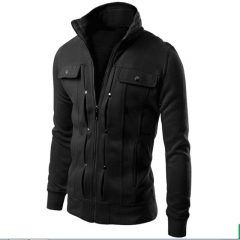 Jacket Men Causal Jackets Mens Stand Collar Fashion Bomber Jacket For Men Coat Male black m