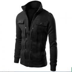 Jacket Men Causal Jackets Mens Stand Collar Fashion Bomber Jacket For Men Coat Male black l
