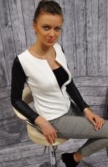 2018 New Fashion  Slim Ladies Women Polyester Suit Coat Jacket Zipper  Spring Patchwork Blazer white m