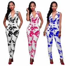 Women Jumpsuit Print Wide Leg Playsuit New Female Romper black xl