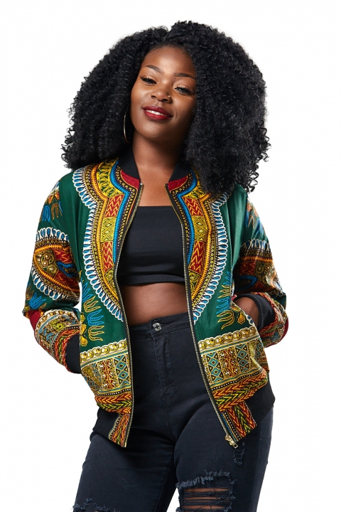 High Quality New Spring Women African Folk Style 3D  Printing Jacket Winter Female Coat Strench Coat green s