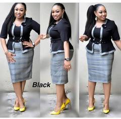 Bussiness Women Floweral Print Dresses With Belt Suit For Women Plus Size Office Ladies Wear black xl