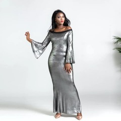 Quality Elegant Party Slash Neck Off Shoulder Dress Evening Party Beading Sequins Dresses l black