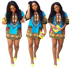 2019 Casual Women Printed Dresses African Style Loose Dresses Ladies Big Size Women Clothes s red