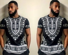 African Style Men's summer new short-sleeved  Printing POLO shirts T-shirts Men Tops Big Size black m polyester