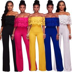 Women Fashion  High Waist Multicolor Lace Off Shoulder  Slim Ankle-lenght Jumpsuit Romper Playsuit black s