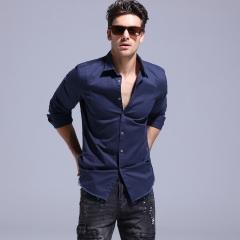 GustOmerD 2017 New Fashion Tassel Design Men Shirt Long Sleeve 100% Cotton Shirt Men Casual Shirt navy xxl 85 to 95kg