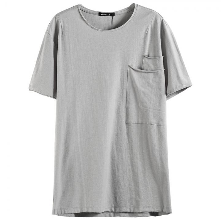 GustOmerD Summer Big Pocket Decorated T Shirt Men Short Sleeve Casual Loose Fitness T-shirt Men gray S 50 to 55kg