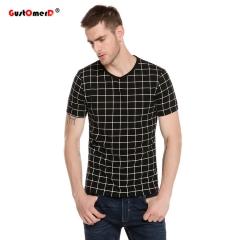 2017 New Summer Plaid Print T Shirt Men Short Sleeve  Slim Fit Casual T-shirt Men Plus Size M-5XL Black Asian XL 60 to 70kg