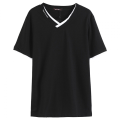 GustOmerD New Fashion Brand Clothing Men's Short-sleeved T-shirts V-neck Casual Slim Fit T-Shirt black Asian M 45 to 50kg