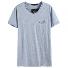 GustOmerD Summer Solid Color V-neck 100% Cotton T-Shirt Men Short Sleeve Casual Mens T-shirts Blue Asian M 45 to 50kg