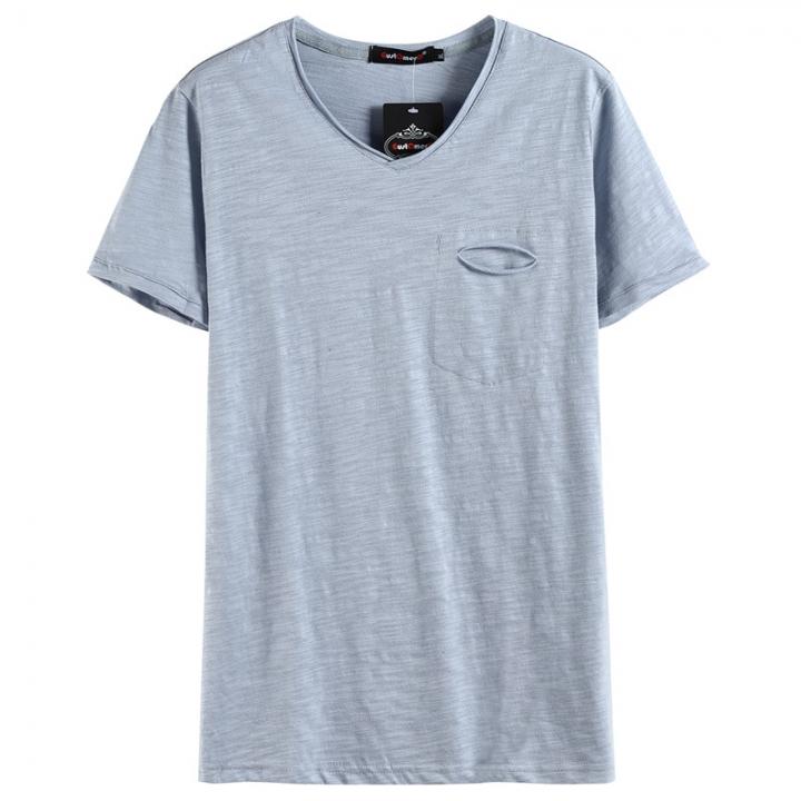 GustOmerD Summer Solid Color V-neck 100% Cotton T-Shirt Men Short Sleeve Casual Mens T-shirts Blue Asian M 45 to 50kg