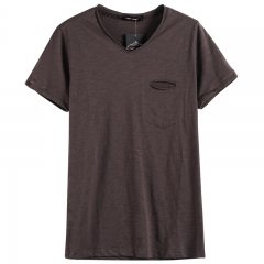 GustOmerD Summer Solid Color V-neck 100% Cotton T-Shirt Men Short Sleeve Casual Mens T-shirts coffee Asian M 45 to 50kg