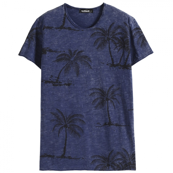 GustOmerD Summer Coconut Tree Print T Shirt Men High Quality Fitness Cotton Short Sleeve T-shirts blue size s 50 to 55kg
