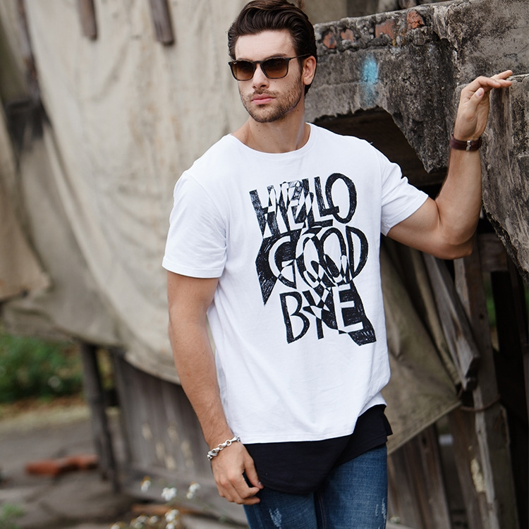 dbea9aff4d0722 GustOmerD New Summer Cotton T shirts Fashion Hip Hop Long Length ...