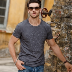 GustOmerD Fashion Cotton T shirts Men Slim Fit Short Sleeve Printed Tops T Shirts Casual dark grey size s 50 to 55kg