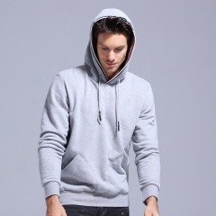 GustOmerD 2017 New Design Hoodies Men Casual Solid Basic Sweatshirt Men Sportingwear Hoody Men grey size l 62 to 70 kg