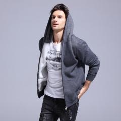 GustOmerD 2017 New Basic Mens Hoodies Zipper Men's Sportswear Cotton Casual Mens Sweatshirts dark grey size s 50 to 55 kg