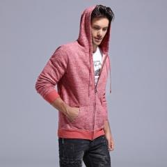 GustOmerD New Cotton Hoodies Men Zipper Slim Fit Sweatshirts Men Casual Style Male Hoodied Jacket red size s 50 to 55 kg