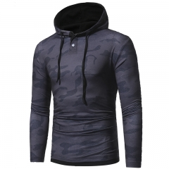 2017 Autumn Winter Camouflage Casual Hooded Hoodie Long-sleeved T-shirt dark grey size M 50 to 58kg