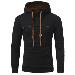 2018 Autumn Winter New Striped Color Men's Casual Hooded Hood Sweater Jacket black size L 58 to 65kg