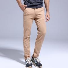GustOmerD Solid Color Pants Men Cotton Male Trousers Slim Fit Casual Style Classic Mens Pants kahki 28