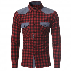 GustOmerD New Classic Plaid Series Men's Casual Slim Long Sleeved Shirt red grid size m 50 to 58kg