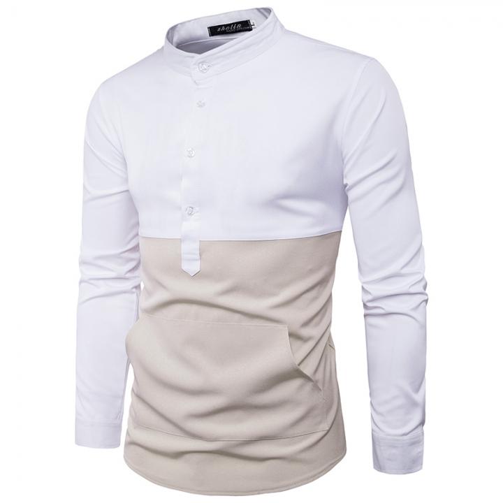 bd534c1a7 Foreign Trade Fashion Hem Big Pocket Design Color Body Men's Long Sleeve Shirt  white size 2xl