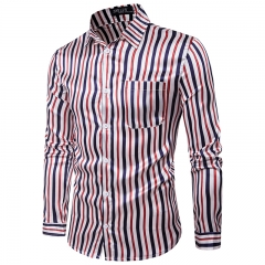 2017 Foreign Trade Real Fashion Nightclub Bright Vertical Stripes All-match Men's Long Sleeve Shirt red and blue size m 50 to 58kg