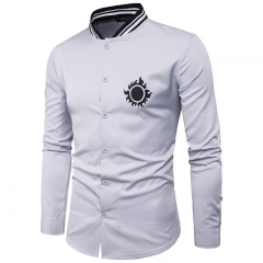 GustOmerD New Personality Tightness Neckline Chest Sun Printing Men's Casual Long Sleeve Shirt grey size L 58 to 65kg