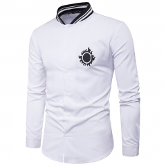 GustOmerD New Personality Tightness Neckline Chest Sun Printing Men's Casual Long Sleeve Shirt white size L 58 to 65kg