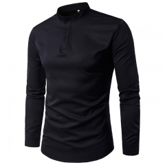 2017 Foreign Trade Solid Body Two Real Simple Button Placket Men's Long Sleeve Shirt black size m 50 to 58kg