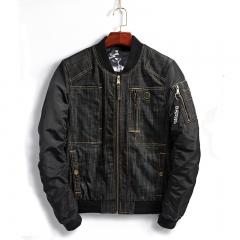 GustOmerD 2017 Fashion Jeans Mens Jackets Pocket Design Bomber jacket Men Patchwork Denim jacket Men black size L 58 to 65kg