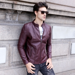 GustOmerD 2018 Fashion Design Pu Leather Jacket Men Casual Motorcycle jackets Leather Mens Jackets wine red size XL 65 to 72kg