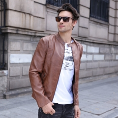 GustOmerD Fashion Jackets Men Solid Color PU Leather Stand Collar Jackets Coats Plus Velvet Jackets light brown size L 58 to 65kg