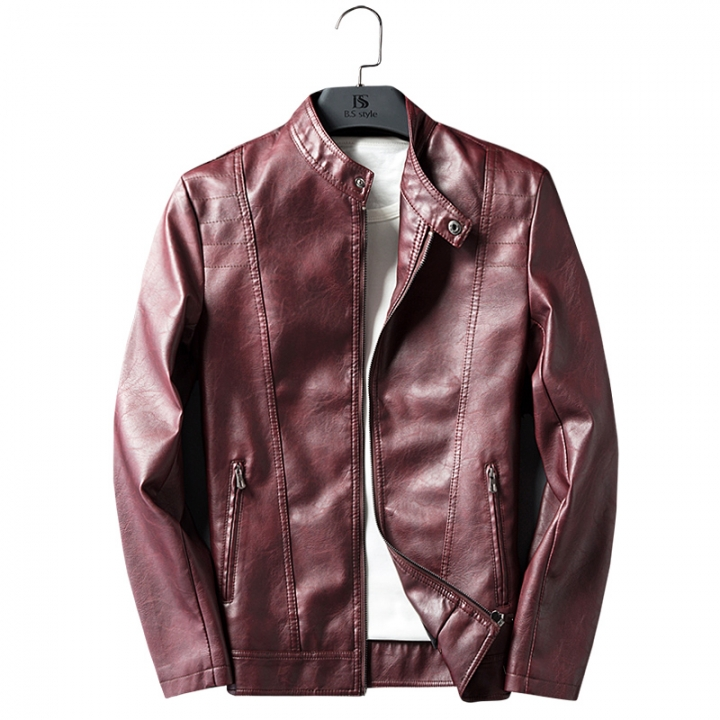 Gustomerd Fashion Jackets Men Solid Color Pu Leather Stand Collar