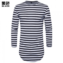 2017 New Fashion Hollow Hip-Hop High Street Men's Round Hem High Street Striped Long Section T-Shirt black white size S 50 to 58kg