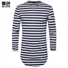 2017 New Fashion Hollow Hip-Hop High Street Men's Round Hem High Street Striped Long Section T-Shirt black white size S 50 to 58kg