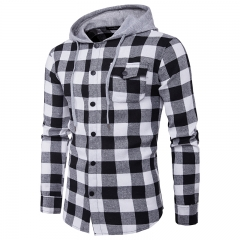 2018 Mens Hoodies Real Match Fashion Big Lattice Pocket Decoration Mens Leisure Hat Jeans Hood Shirt black and white size xl 65 to 72kg