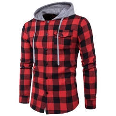 2018 Mens Hoodies Real Match Fashion Big Lattice Pocket Decoration Mens Leisure Hat Jeans Hood Shirt red and black size m 50 to 58kg