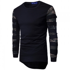 2017 Stretch Cotton Camouflage Mesh Splicing Men's Long Sleeve T-shirt black size m 58 to 65kg