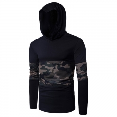 2017 Stretch Cotton Camouflage Mesh Splicing Men's Hooded Long Sleeve T-shirt black size m 58 to 65kg