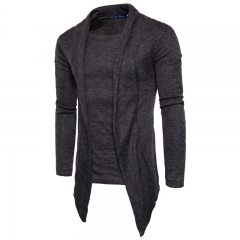2017 Men's personality Fake Two Pieces Thickened Sweater Cardigan Sweater Knitting Shirt dark grey size s 40 to 52 kg