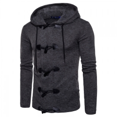 2017 Men's Personality  Ox Horn Buckle Thickening Sweater  Cardigan Sweater Knitted Sweater dark grey size s 50 to 58 kg