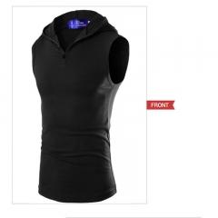 2017 Men's Hooded Stretch Cotton Sweat Vest Slim Bottoming Vest black size m 45 to 52kg