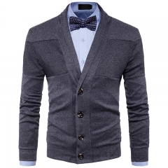 2017 New Style Lapel Man Solid Color  Split Joint Long Sleeved Knitted Sweater dark grey size s 45 to 50kg