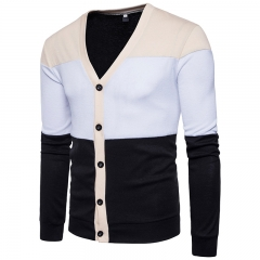 2017 New Pierced Fashion For Men Contrast Color Knitwear Single breasted Coat black size s 50 to 58 kg